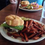 Bison burger with sweet potato fries