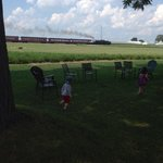 Little ones enjoying the great outdoors and watching the steam train go by.