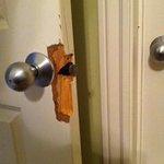 Door jamb was kicked in - we couldn't close bathroom door.  This was on BOTH bathrooms!