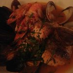 North End Cioppino - Spicy stew of mixed grilled fish and shellfish, safron rice