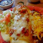 Chile rellenos and cheese enchilada