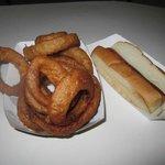 Onion rings $4  Hot Dog $2