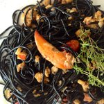 Black spaghetti with lobster