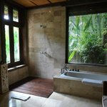 Villa 105's gigantic bathroom with garden views.