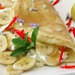 Vegetarian- Banana, Sunflower Seed Cottage Cheese and Honey Breakfast Pancake