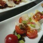 Entrée tomates cerises pesto parmesan