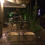 Garden terrace at night