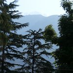 view of snow clad mountains from hotel.. in may