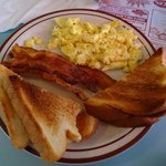 Eggs, Toast and Bacon.