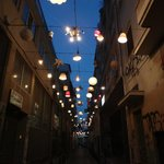 Pretty street with lamps.