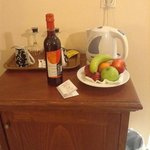 complimentary fruit and wine