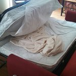 We opened sofa bed and found the previous guest's linen STILL ON BED.  gross!  Housekeeping fail