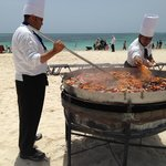 seafood paella on the beach