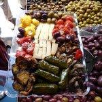 various antipastas and cheeses