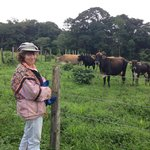 This is Katrin and the cows that produce our milk and the delicious cheese served