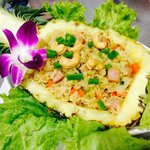 Ham fried rice in pineapple