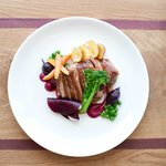 Duck breast with lentils, carrot and beetroot