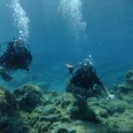 Diving in Grecian Bay with my friend to the right side. The other day i went diving in Zenobia