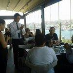 Suprise birthday celebration with free cake on Peninsula terrace restaurant.