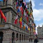 Flag Bedecked Antwerp City Hall