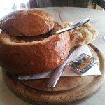 South-american meat soup in bread. Yummie!!!