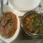Chicken tikka balti and Malabar lamb curry