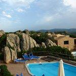 Blick von Villa 8b auf den Pool