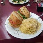 Pesto Chicken Sandwich w/ pasta
