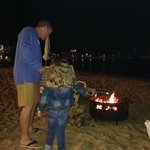 Making s'mores at the beach bonfire.
