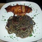 Stuffed calamari & spaghetti nero