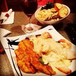 Penne Pasta with Skirt Stake and Fish Fillet With Shrimp with three cheese Sauce!!! Delicious.