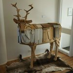 A deer in the lobby.