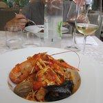 Delicious seafood pasta at Bajamonti