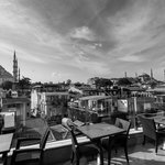 View of Blue Mosque & Hagia Sofia from the terrace