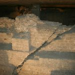 Foundation wall showing crack caused by earthquake