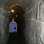 Author's wife in Roman water tunnel