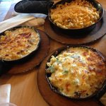 clockwise from top: cheeseburger, garden lite and napoletana macaroni and cheese