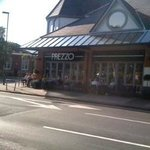 Part of Prezzo's exterior with seating
