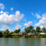 This is the resort from the lake.