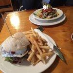 Beef burger and vege nachos.