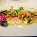 Carpaccio de cabillaud au citron et wasabi , légumes aigres doux et mousse Basilic