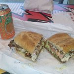 Small roast beef sub with spanish drink