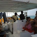 Our guides driving the boat-- notice the slide on the boat!