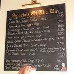 Duke of Wellington menu board