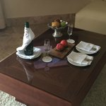 Champagne and fresh fruit on arrival