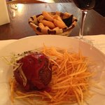 THE MEAT BALL: rump steak and iberico pork morcilla meat ball stuffed with montenebro goats chee