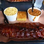 Full rack of ribs with mac n' cheese, BBQ baked beans and cornbread