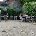 Game of Boules after lunch - boules provided by the pub