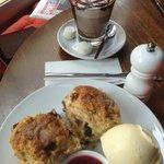chocolate chip scones and hot chocolate - brilliant