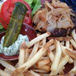 Mustang Angus Burger (Caramelized Onions, Choice of Cheese, Fries with Cilantro Aioli)